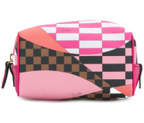 faux leather printed makeup bag