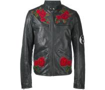 rose patch biker jacket