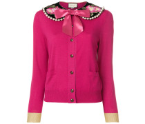 floral embroidered pearl collar cardigan