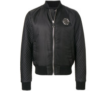 quilted sleeve bomber jacket