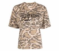 leopard-print slogan cotton T-shirt