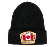 logo patch beanie hat - men - Wolle