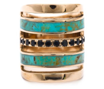 'Inlay' Ring mit Spinell und Türkis