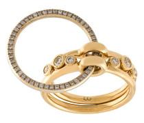 Dreiteiliger 18kt Goldring mit Diamanten