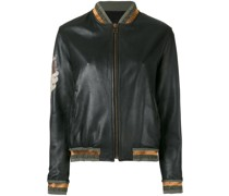 tattoo-style print leather bomber