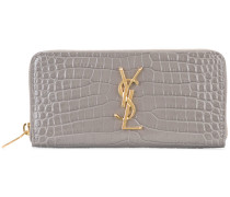 Monogram zip around purse