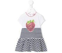 Gestreiftes Kleid mit Erdbeer-Print
