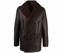 double-breasted shearling-trim jacket