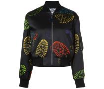 Cropped-Jacke mit Stiefelabdruck-Print
