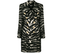 button-embellished zebra coat