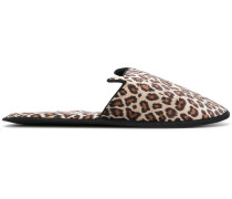 'Kitty' Satin-Mules mit Leopardenmuster