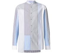 mandarin-collar patchwork striped shirt