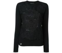 Pullover mit Spitzeneinsatz im Totenkopf-Design