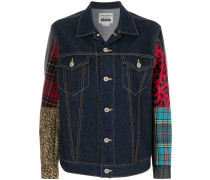multi fabrics denim jacket
