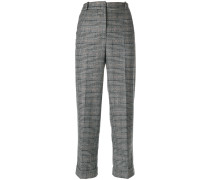 plaid print tapered trousers