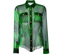 Semi-transparentes Seidenhemd mit Print