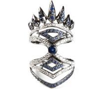 Ring aus 18kt Weißgold mit Diamanten und Saphiren