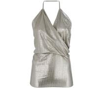 metallic cowl-neck top