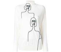 Wollpullover mit Frauen-Print
