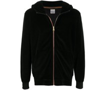 striped trim zip-up hoodie