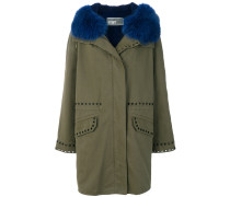 hooded lapin trim parka