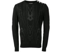 Intarsien-Pullover mit Schulterknöpfen