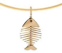 18kt -Choker mit Diamant-Fischgrätenanhänger