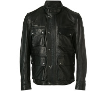 zipped biker jacket