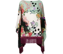 Seidenponcho mit floralem Print