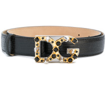 embellished logo buckle belt