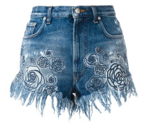 Jeans-Shorts mit Rosen-Print - women