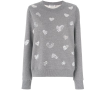 sequin embroidered hearts pullover
