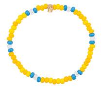 Perlenarmband mit Totenkopf aus 14kt Gelbgold