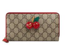 GG Supreme zip around wallet with cherries