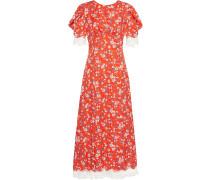 Geblümtes Kleid mit Spitzenborten