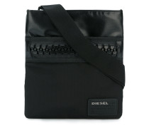 chunky zip messenger bag