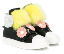 fur and floral appliquéd hi-top sneakers