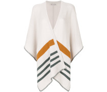 stripe detail knitted cape
