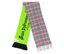 plaid and logo scarf