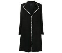 faux-pearl trim tailored coat