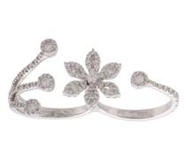 18kt white gold diamond flower two finger ring
