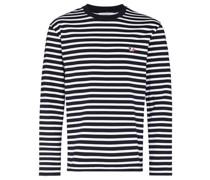 Gestreiftes T-Shirt mit Fuchsstickerei