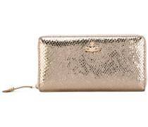 zip around wallet - women - Baumwolle/Leder