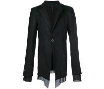 frayed-hem fitted blazer