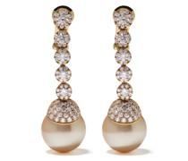 18kt Gelbgoldohrringe mit Perlen