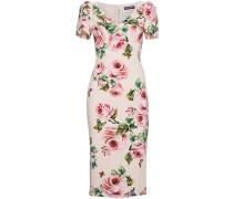 Rose print silk midi dress
