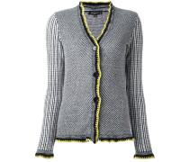 contrast trim woven cardigan