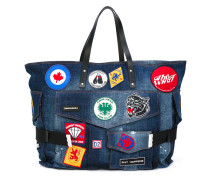 patch embroidered denim holdall - men
