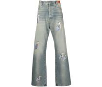 Bestickte Baggy-Jeans