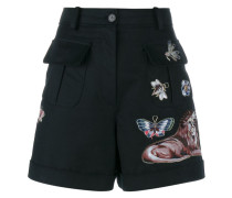 embroidered A-line wool shorts